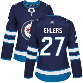 Wholesale Cheap Adidas Jets #27 Nikolaj Ehlers Navy Blue Home Authentic Women\'s Stitched NHL Jersey