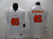 Wholesale Cheap Men's Cleveland Browns #13 Odell Beckham Jr White 2020 Shadow Logo Vapor Untouchable Stitched NFL Nike Limited Jersey