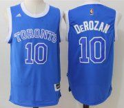 Wholesale Cheap Men's Toronto Raptors #10 DeMar DeRozan Blue Stitched 2017 NBA Adidas Revolution 30 Swingman Jersey