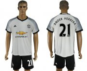Wholesale Cheap Manchester United #21 Ander Herrera White Soccer Club Jersey