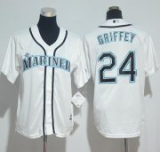 Wholesale Cheap Mariners #24 Ken Griffey White Cool Base Stitched Youth MLB Jersey