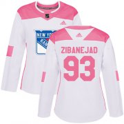 Wholesale Cheap Adidas Rangers #93 Mika Zibanejad White/Pink Authentic Fashion Women's Stitched NHL Jersey