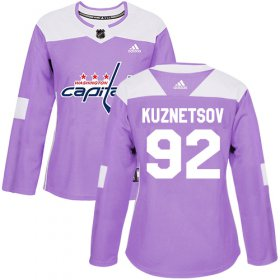 Wholesale Cheap Adidas Capitals #92 Evgeny Kuznetsov Purple Authentic Fights Cancer Women\'s Stitched NHL Jersey