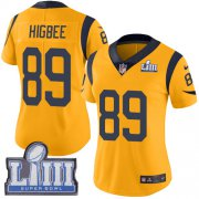 Wholesale Cheap Nike Rams #89 Tyler Higbee Gold Super Bowl LIII Bound Women's Stitched NFL Limited Rush Jersey