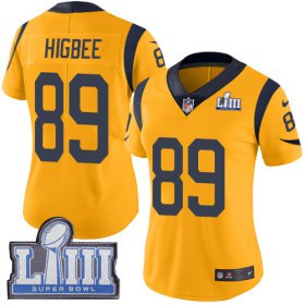 Wholesale Cheap Nike Rams #89 Tyler Higbee Gold Super Bowl LIII Bound Women\'s Stitched NFL Limited Rush Jersey