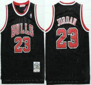 Wholesale Cheap Chicago Bulls #23 Michael Jordan 1997-98 Black Hardwood Classics Soul Swingman Throwback Jersey