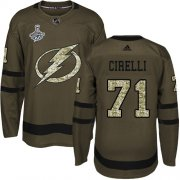 Cheap Adidas Lightning #71 Anthony Cirelli Green Salute to Service Youth 2020 Stanley Cup Champions Stitched NHL Jersey