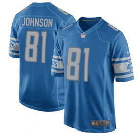 Wholesale Cheap Nike Lions #81 Calvin Johnson Light Blue Team Color Youth Stitched NFL Elite Jersey