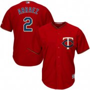 Wholesale Cheap Twins #2 Luis Arraez Red Cool Base Stitched MLB Jersey