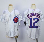 Wholesale Cheap Cubs #12 Kyle Schwarber White(Blue Strip) Cool Base Stitched Youth MLB Jersey