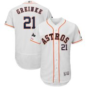 Wholesale Cheap Houston Astros #21 Zack Greinke Majestic 2019 Postseason Authentic Flex Base Player Jersey White