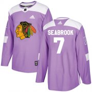 Wholesale Cheap Adidas Blackhawks #7 Brent Seabrook Purple Authentic Fights Cancer Stitched Youth NHL Jersey