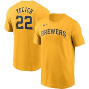 Wholesale Cheap Milwaukee Brewers #22 Christian Yelich Nike Name & Number Team T-Shirt Gold
