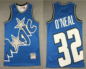 Wholesale Cheap Men\'s Orlando Magic #32 Shaquille O\'neal Blue Big Face Mitchell Ness Hardwood Classics Soul Swingman Throwback Jersey