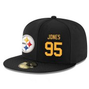Wholesale Cheap Pittsburgh Steelers #95 Jarvis Jones Snapback Cap NFL Player Black with Gold Number Stitched Hat