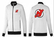 Wholesale Cheap NHL New Jersey Devils Zip Jackets White-1