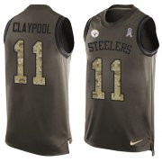 Wholesale Cheap Nike Steelers #11 Chase Claypool Green Men's Stitched NFL Limited Salute To Service Tank Top Jersey