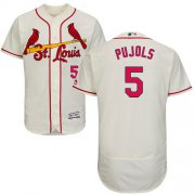 Wholesale Cheap Cardinals #5 Albert Pujols Cream Flexbase Authentic Collection Stitched MLB Jersey
