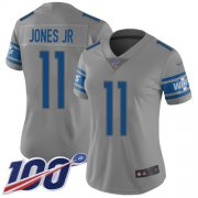 Wholesale Cheap Nike Lions #11 Marvin Jones Jr Gray Women's Stitched NFL Limited Inverted Legend 100th Season Jersey