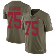 Wholesale Cheap Nike Giants #75 Cameron Fleming Olive Men's Stitched NFL Limited 2017 Salute To Service Jersey