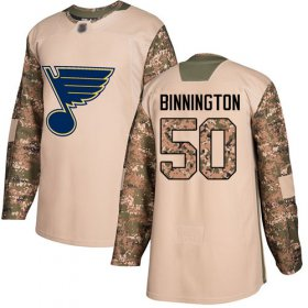 Wholesale Cheap Adidas Blues #50 Jordan Binnington Camo Authentic 2017 Veterans Day Stitched NHL Jersey