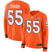 Wholesale Cheap Nike Broncos #55 Bradley Chubb Orange Team Color Women's Stitched NFL Limited Therma Long Sleeve Jersey