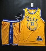 Wholesale Cheap Warriors #11 Klay Thompson Gold Throwback The City A Set Stitched NBA Jersey