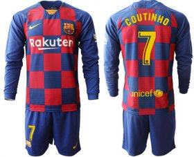 Wholesale Cheap Barcelona #7 Coutinho Home Long Sleeves Soccer Club Jersey