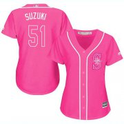 Wholesale Cheap Mariners #51 Ichiro Suzuki Pink Fashion Women's Stitched MLB Jersey