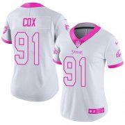Wholesale Cheap Nike Eagles #91 Fletcher Cox White/Pink Women's Stitched NFL Limited Rush Fashion Jersey
