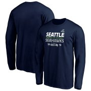 Wholesale Cheap Seattle Seahawks 2019 NFL Playoffs Bound Hometown Checkdown Long Sleeve T-Shirt College Navy
