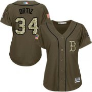 Wholesale Red Sox #34 David Ortiz Green Salute to Service Women's Stitched Baseball Jersey