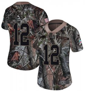 Wholesale Cheap Nike Bills #12 Jim Kelly Camo Women\'s Stitched NFL Limited Rush Realtree Jersey