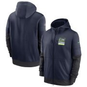 Wholesale Cheap Seattle Seahawks Nike Sideline Impact Lockup Performance Full-Zip Hoodie College Navy