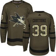 Wholesale Cheap Adidas Sharks #39 Logan Couture Green Salute to Service Stitched Youth NHL Jersey
