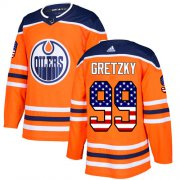 Wholesale Cheap Adidas Oilers #99 Wayne Gretzky Orange Home Authentic USA Flag Stitched Youth NHL Jersey
