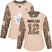 Wholesale Cheap Adidas Maple Leafs #12 Patrick Marleau Camo Authentic 2017 Veterans Day Women's Stitched NHL Jersey