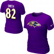 Wholesale Cheap Women's Nike Baltimore Ravens #82 Torrey Smith Name & Number T-Shirt Purple