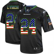 Wholesale Cheap Nike Seahawks #24 Marshawn Lynch Black Men's Stitched NFL Elite USA Flag Fashion Jersey