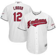 Wholesale Cheap Cleveland Indians #12 Francisco Lindor Majestic Home 2019 All-Star Game Patch Cool Base Player Jersey White