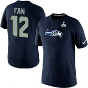 Wholesale Nike Seattle Seahawks #12 Fan Name & Number 2015 Super Bowl XLIX NFL T-Shirt Navy Blue