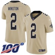 Wholesale Cheap Nike Saints #2 Jameis Winston Gold Men's Stitched NFL Limited Inverted Legend 100th Season Jersey
