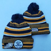 Wholesale Cheap Packers Team Logo Yellow 100th Season Pom Knit Hat YD