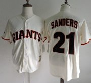 Wholesale Cheap Mitchell And Ness Giants #21 Deion Sanders Cream Throwback Stitched MLB Jersey
