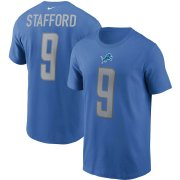 Wholesale Cheap Detroit Lions #9 Matthew Stafford Nike Team Player Name & Number T-Shirt Blue