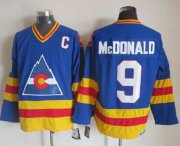 Wholesale Cheap Avalanche #9 Lanny Mcdonald Blue CCM Throwback Stitched NHL Jersey