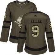 Wholesale Cheap Adidas Coyotes #9 Clayton Keller Green Salute to Service Women's Stitched NHL Jersey