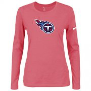 Wholesale Cheap Women's Nike Tennessee Titans Of The City Long Sleeve Tri-Blend NFL T-Shirt Pink