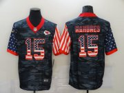 Wholesale Cheap Men's Kansas City Chiefs #15 Patrick Mahomes USA Camo 2020 Salute To Service Stitched NFL Nike Limited Jersey