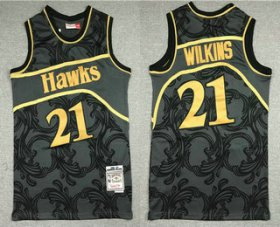 Wholesale Cheap Men\'s Atlanta Hawks #21 Dominique Wilkins Black With Gold Hardwood Classics Soul Swingman Throwback Jersey